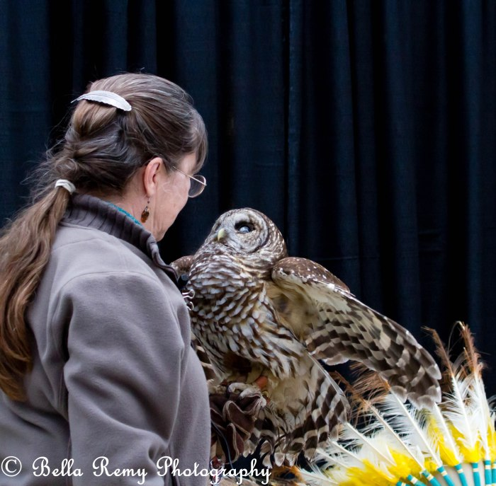 Liz Owen with a Barred Owl