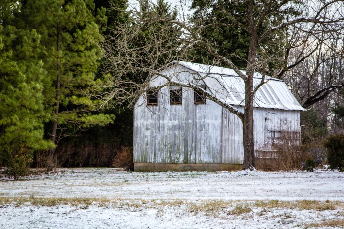 Snowy White Barn