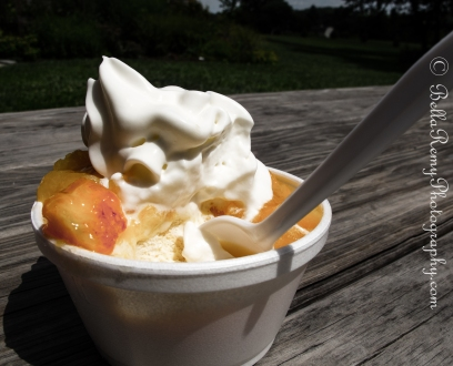 Peach Melba over Salted Caramel Truffle Ice Cream. Top it off with whipped cream - YUM!