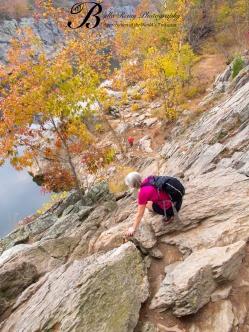 Climbing the rock's face